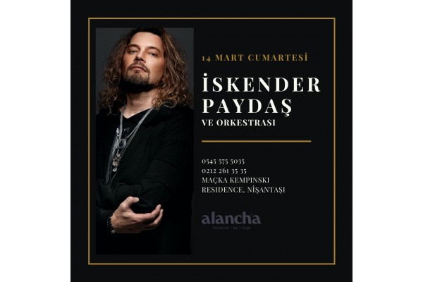 iskender paydas and Orchestra march 14 saturday at Alancha